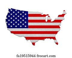 United States Map Art Print United States Map With The Flag Paper