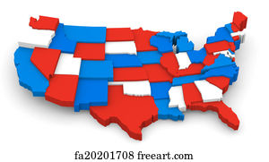 Free Art Print Of U S A Map United States D Render A Blue - Red and blue us map