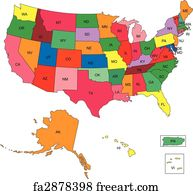 Free Us Map Art Prints And Wall Art FreeArt - Us map with state name