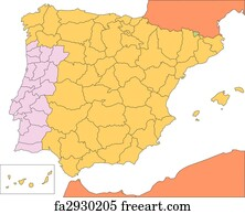 Free Spain Map Art Prints And Wall Art FreeArt - Portugal map to print