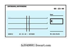 free art print of blank check with false numbers. blank white, Powerpoint templates