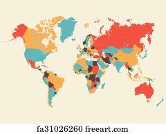 Free art print of Colorful World Map Illustration