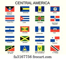 Free art print of Central America to USA Countries and Names