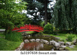 stone bridge art print red bridge in a japanese garden - Japanese Garden Stone Bridge