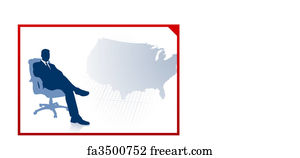 Us Map Art Print Business Executive On Us Map Background