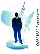Us Map Art Print Young Business Man On Us Map Background