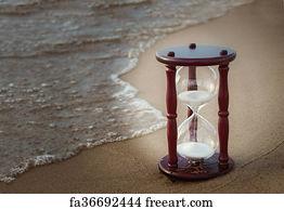 sand timer art. sand timer art print on beach