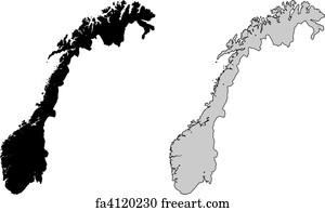 Free Norway Map Art Prints And Wall Art FreeArt - Norway map