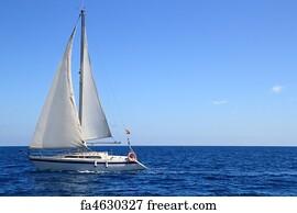 sailing art print beautiful sailboat sailing sail blue mediterranean - 1000 Free Prints