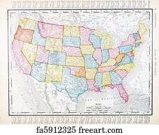 Free Art Print Of Antique Vintage Color Map Of Kansas USA - Vintage us map