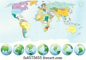 Free Art Print Of World Map With Country Name Illustration Of - World map with country name
