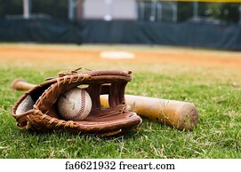 baseball background art print old baseball glove and bat on field - 1000 Free Prints