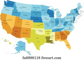 Free Art Print Of USA States And Canada Names Vector Map Of - Canada usa map states and provinces