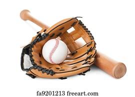baseball background art print leather glove with baseball and bat on white - 1000 Free Prints