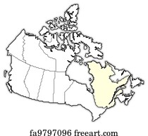 Free art print of Map of Canada Quebec highlighted Political map