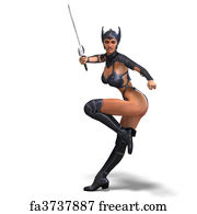 Free art print of Female amazon warrior with sword and armor  3D rendering  with clipping path and shadow over white