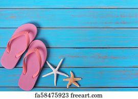 4be29a516499 Flip Flop Border Art Print - Flipflops Starfish Summer Beach Blue Wood Background  Border