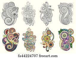 Free Art Print Of Tea And Coffee Theme Circle Tribal Doodle