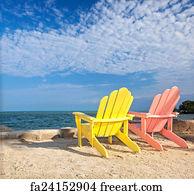 Beau Art Print   Florida Beach Lounge Chairs