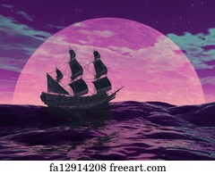 Free art print of Ghost boat by night - 3D render