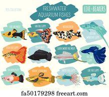 Free Art Print Of Freshwater Aquarium Fishes Breeds Icon Set Flat