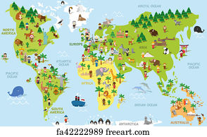 Free animal world art prints and wall artwork freeart animal world art print funny cartoon world map with children of different nationalities animals gumiabroncs Choice Image
