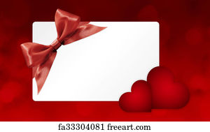 Free Art Print Of Gift Card With Blue Ribbon Bow Isolated On White