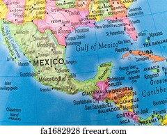 Free Central America Map Art Prints and Wall Artwork | FreeArt