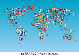 Free art print of world map framed with world flags freeart art print globalisation world map with people made from flags gumiabroncs Image collections