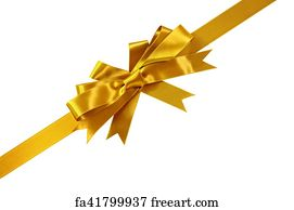 free art print of gold corner diagonal gift bow ribbon isolated on