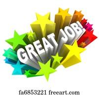 appreciation art print great job words praising a successful goal accomplished