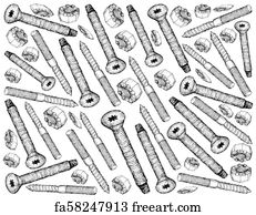 free hex cap screw art prints and wall artwork freeart Hex Head Screws hex cap screw art print hand drawn sketch background of screws and nuts