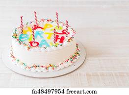 Free Art Print Of Happy Birthday Cake On Table