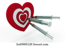 Free heart shaped target art prints and wall artwork freeart heart shaped target art print heart shaped target and syringe 3d rendering thecheapjerseys Images