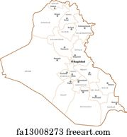Free art print of Map of Iraq, Najaf highlighted