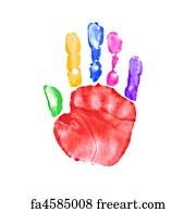 free art print of colorful child hand prints pair of preschooler