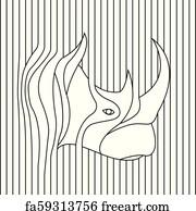 Free art print of Rhino balanced on the line