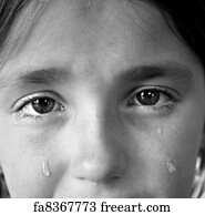 Art Print - Little Girl Crying With Tears