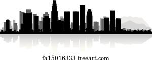 free art print of downtown los angeles skyline at night california
