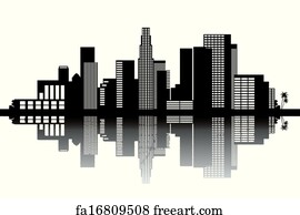 art print los angeles skyline