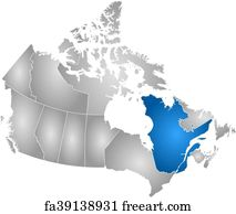 Free art print of Map of Canada, Quebec highlighted. Political map ...