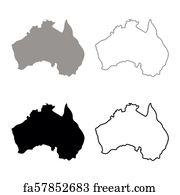 Australia Map Grey.Free Art Print Of Black Outline Of Australia Map Freeart Fa17830932