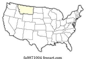 Free U S Map Art Prints And Wall Art FreeArt - Montana in us map