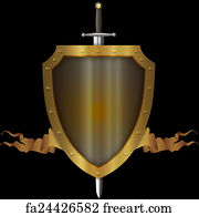 free art print of gold shield and gold ribbon medieval gold riveted