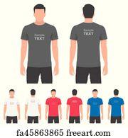 604a5439 Free art print of Men's and Women's t-shirt design template. T-shirt ...