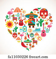 Free art print of mexican fiesta party invitation mexican fiesta art print mexico love heart with set of vector icons stopboris Images