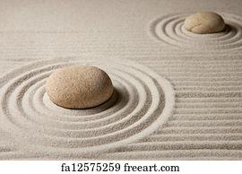 Free Art Print Of Mini Zen Garden Stone On Raked Sand Mini Rock