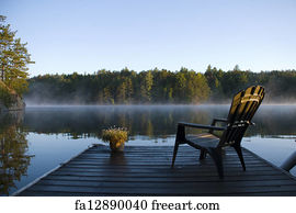 Adirondack Chair Art Print   Morning Mist On The Bay