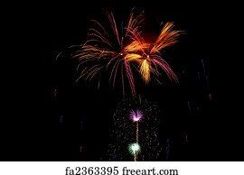 Free art print of Neon Star neon lit star with #1: multiple bursts of green gold pink red blue and purple fireworks light the night sky fa