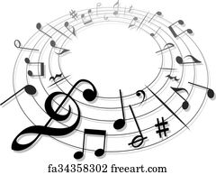 Free art print of Music Clef and Notes Groovy Doodles ...